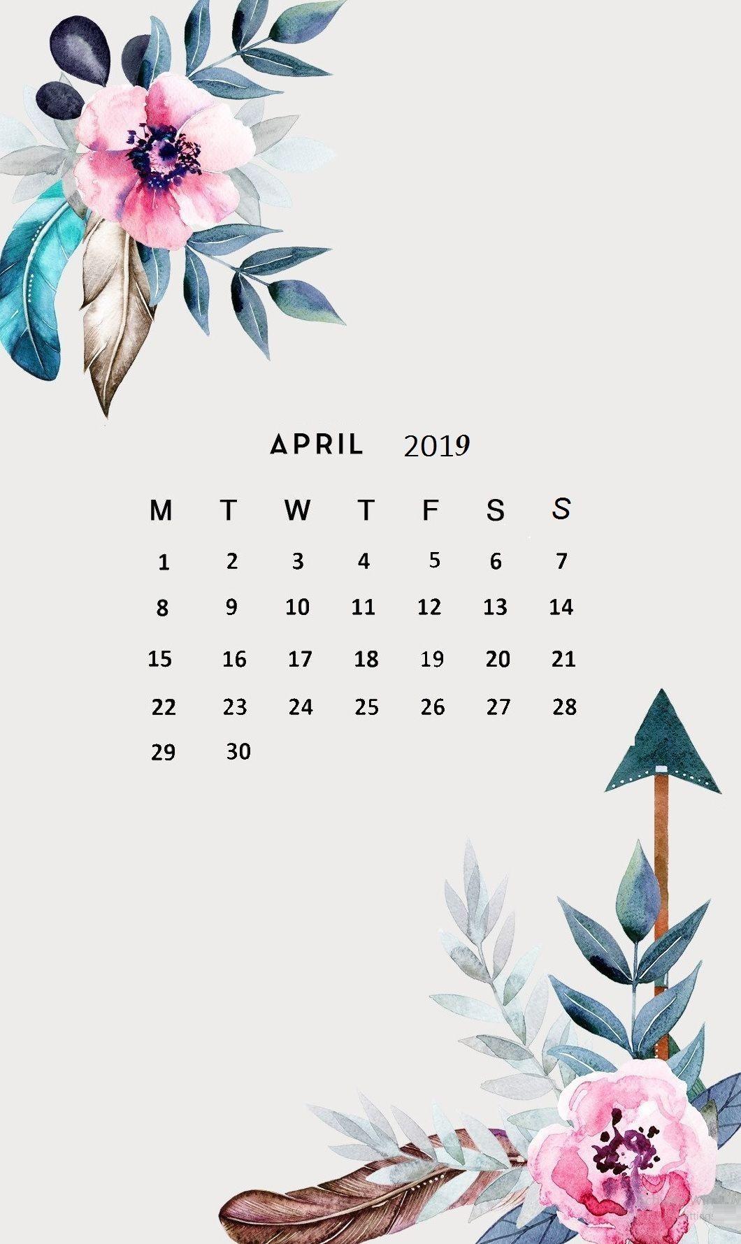 Flower April 2019 Iphone Wallpaper Calendar Background in 2019 1060x1780