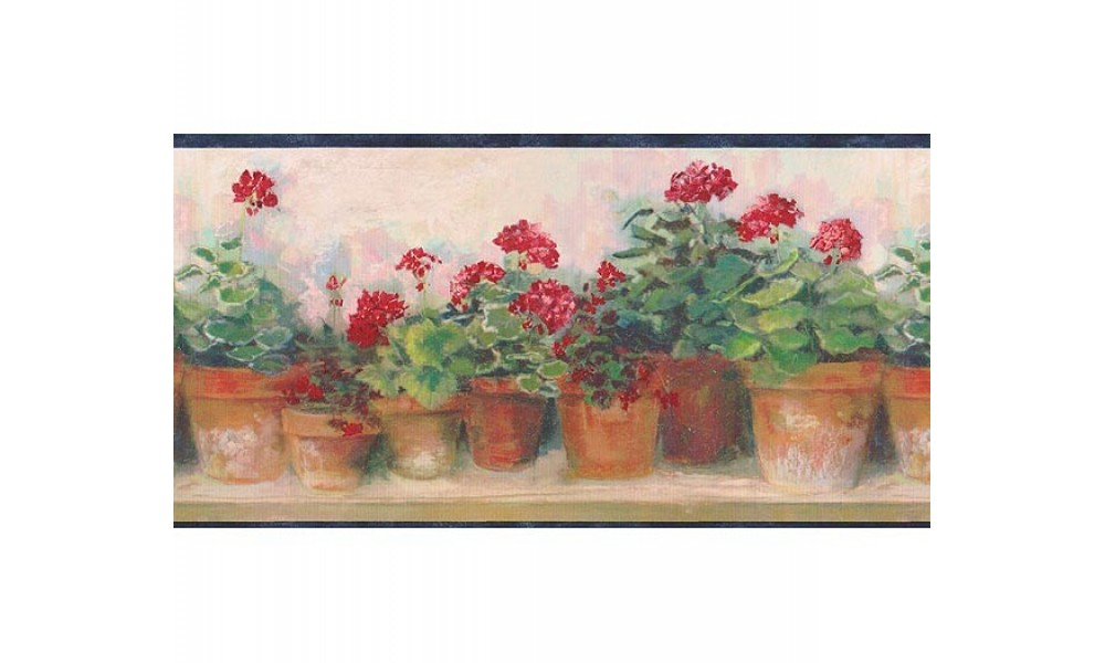 Home Blue and Red Floral Geraniums Wallpaper Border 1000x600