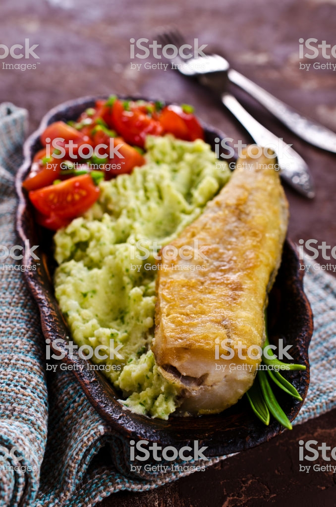 Fried Pollock With Vegetables Stock Photo More Pictures of 678x1024