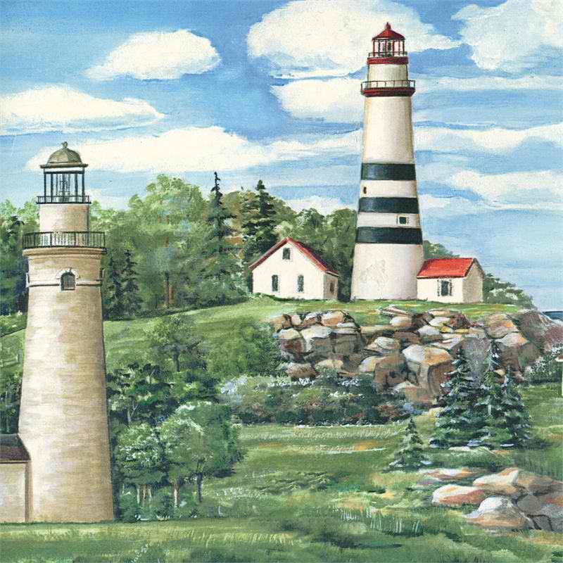 Green Lake Lighthouse Wallpaper Border 800x800