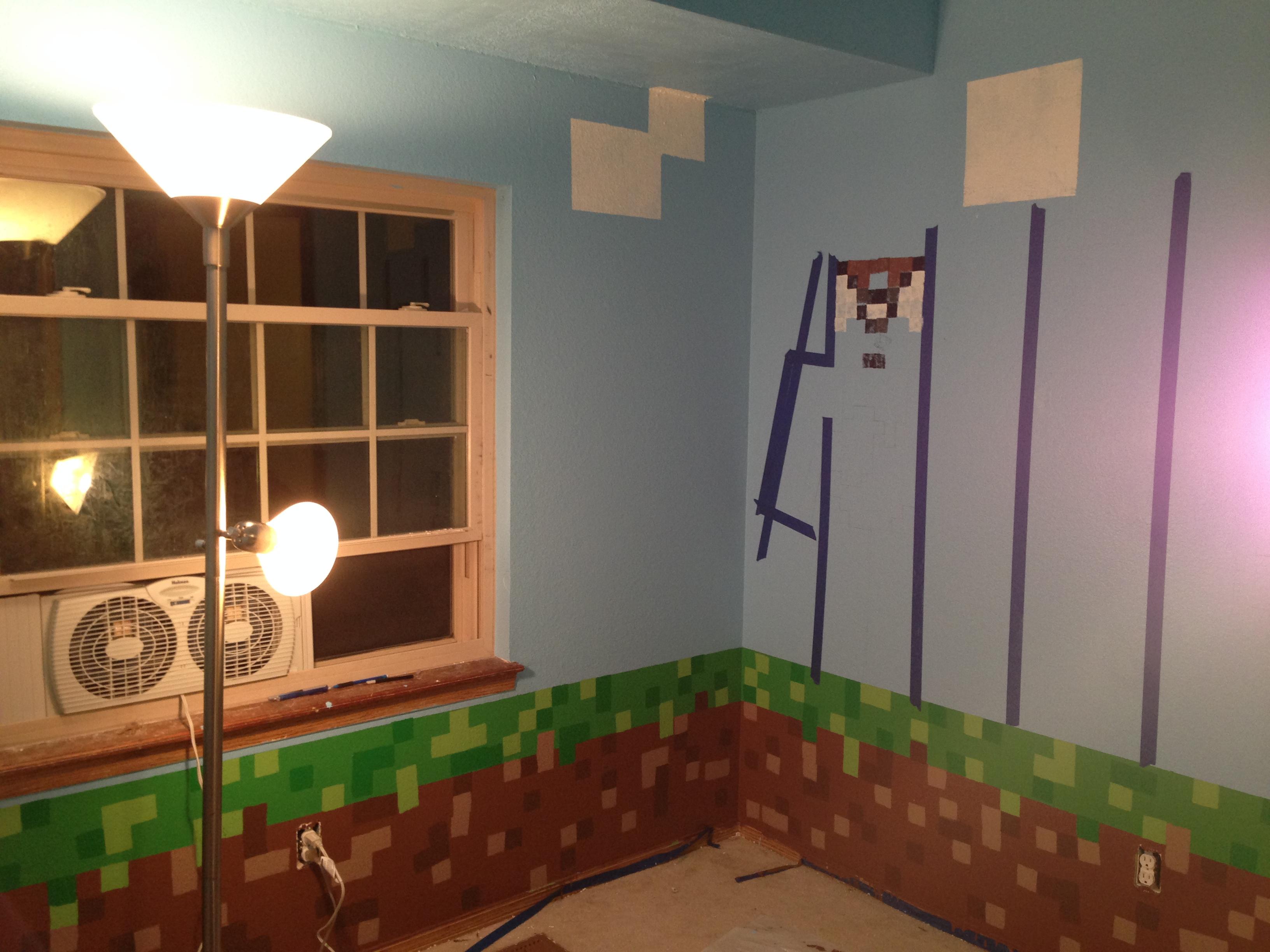 Minecraft Themed Bedroom Wallpaper Minecraft Themed Bedroom 3264x2448