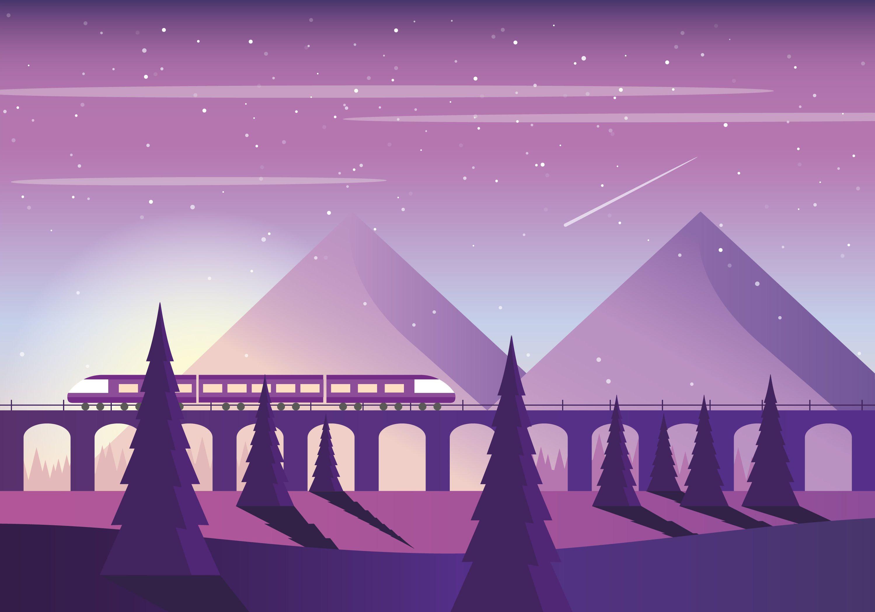 Vector Purple Landscape Illustration Landscape illustration 2998x2097