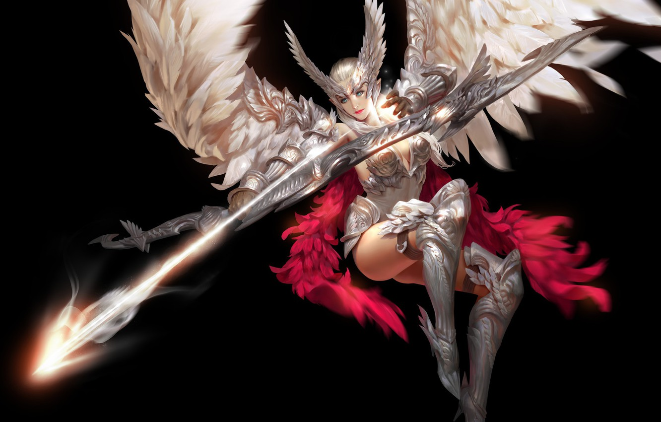 Wallpaper look girl pose weapons background wings feathers 1332x850