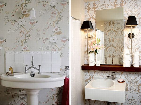 How to add elegance to a bathroom with wallpapers 600x449
