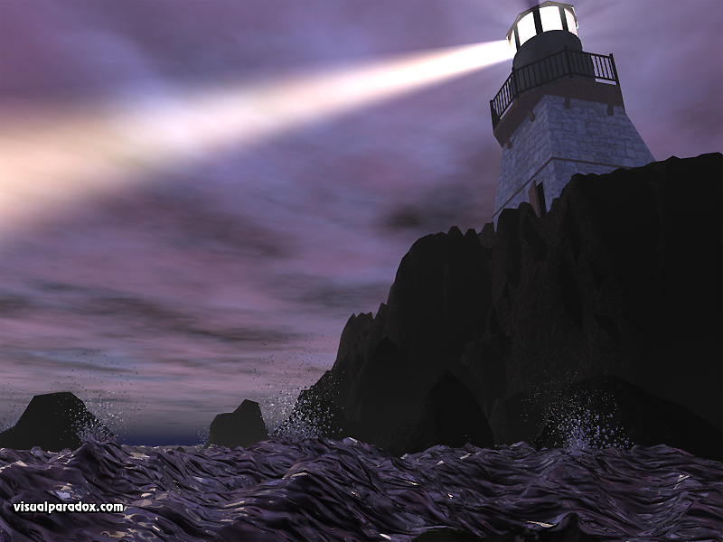 lighthouse ocean cliff light beam storm 3d wallpaper 800x600