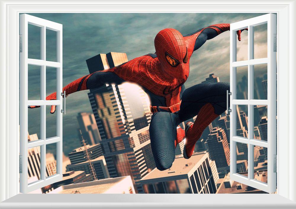 Spiderman 3D Window Wall Art Sticker Decal Mural Wallpaper Kids Room 1000x707