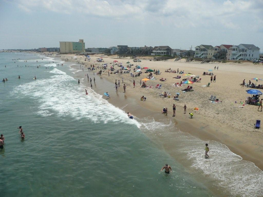 Nags Head beach from Jennettes Pier Outer Banks Real Estate 1024x768