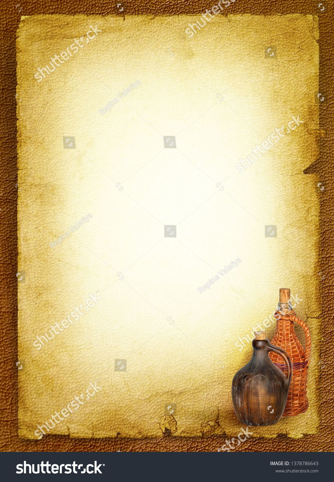 Wine list menu with jug and bottle at vintage paper background 1109x1600