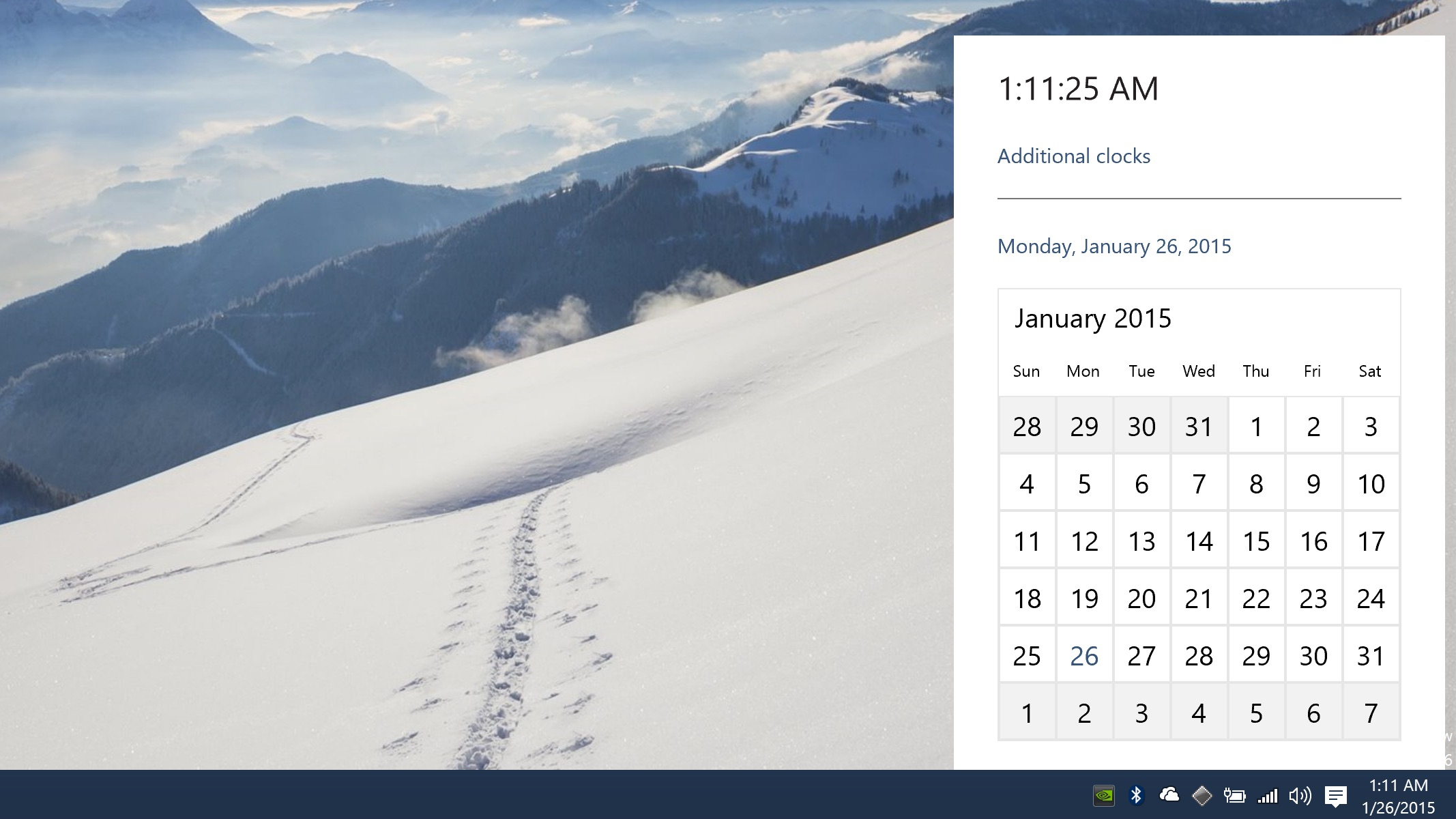 Desktop clock to see the new design for the calendar and time window 2134x1200