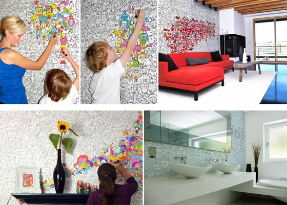 Wallpaper you can color Wall Decorating Pinterest 560x401