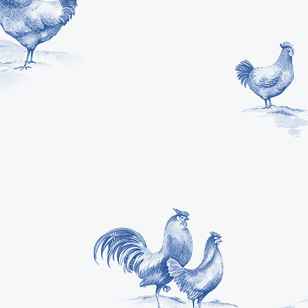 Blue and White Rooster Wallpaper 600x600