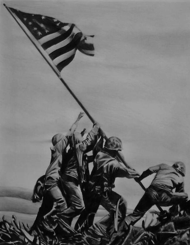 Iwo Jima Flagraising by Y LIME [650x838