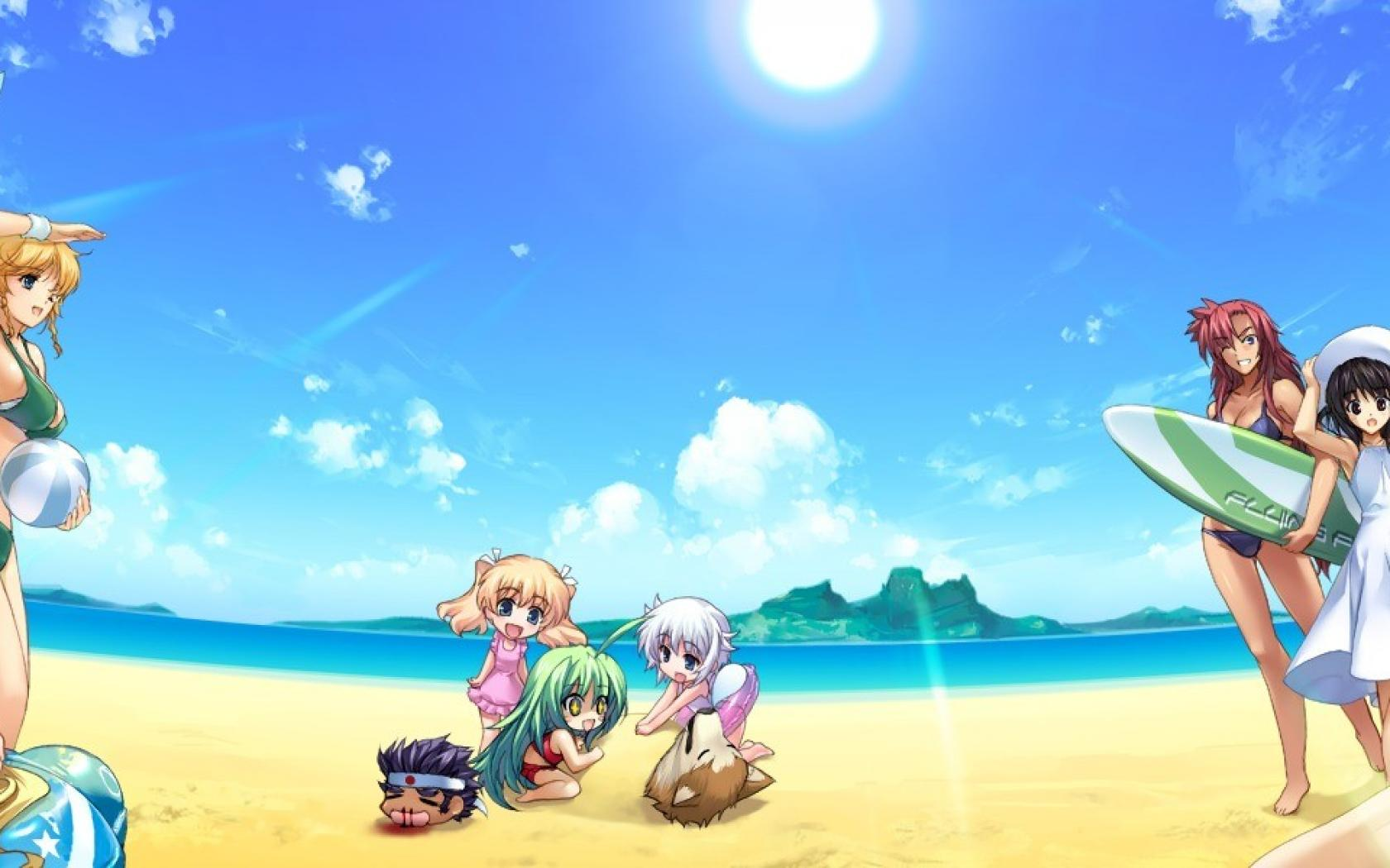 beach dual screen chibi HD Wallpaper   Anime Manga 1111181 1680x1050