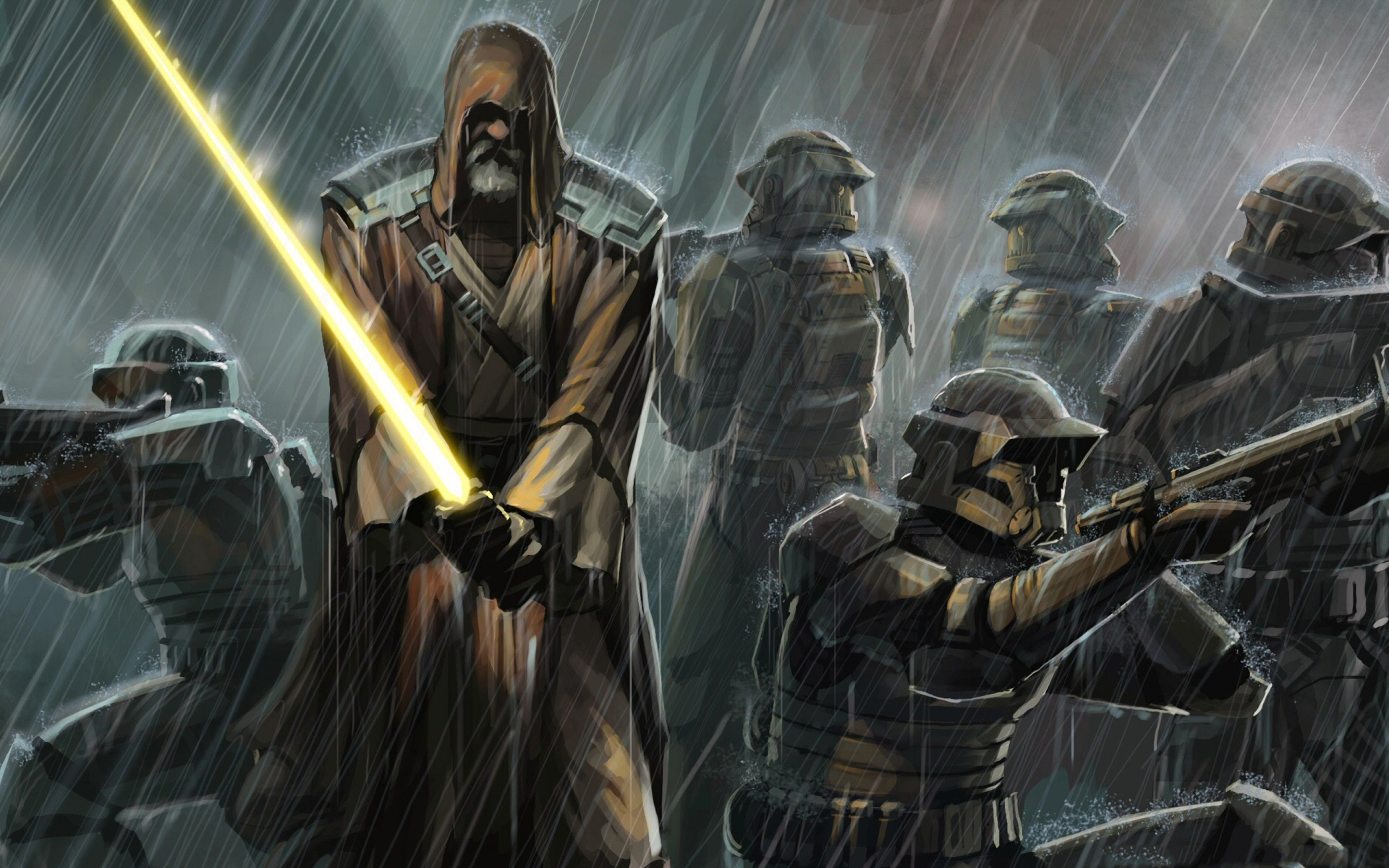 Star Wars Wallpaper jedi sword clones rain 1920x1200