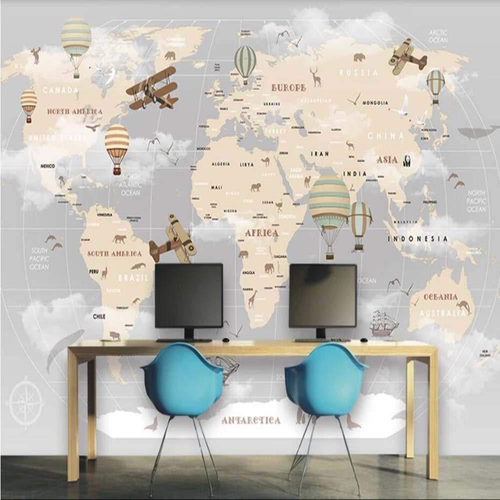 Amazoncom Retro Air Hot Balloons Airplane World Map Wallpaper 1000x1000