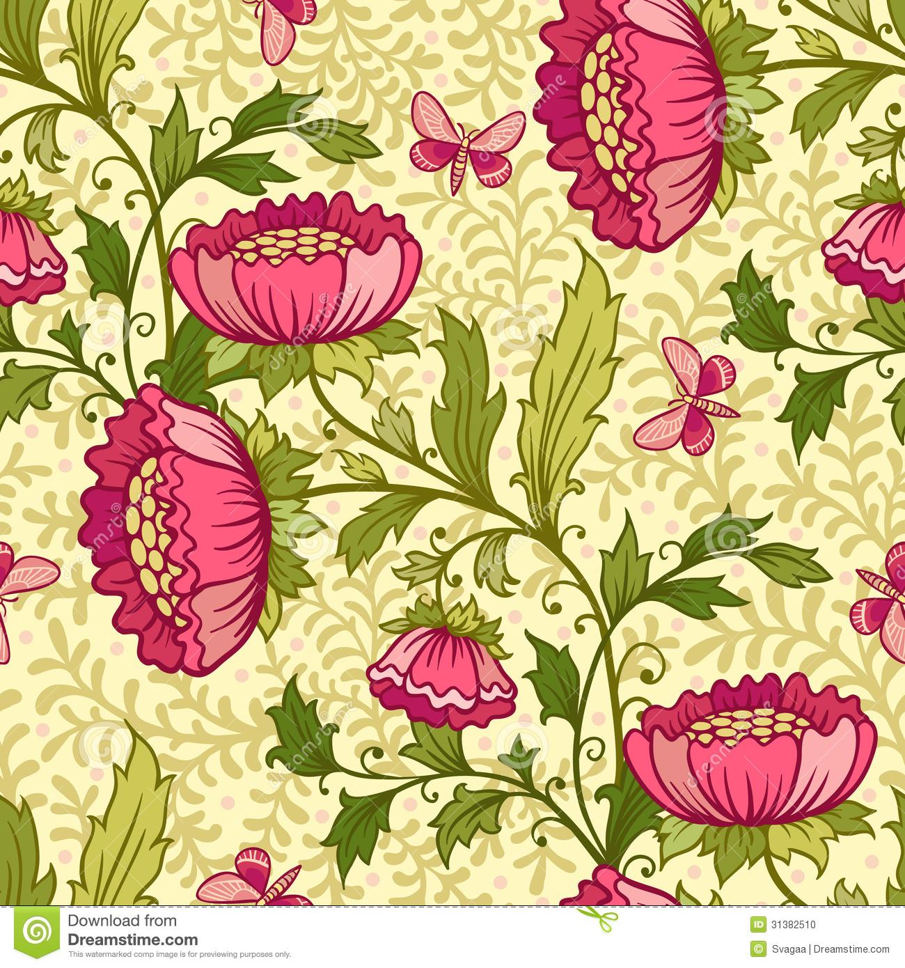 Vintage Flower Pattern Wallpaper Wallpaper seam 1300x1390