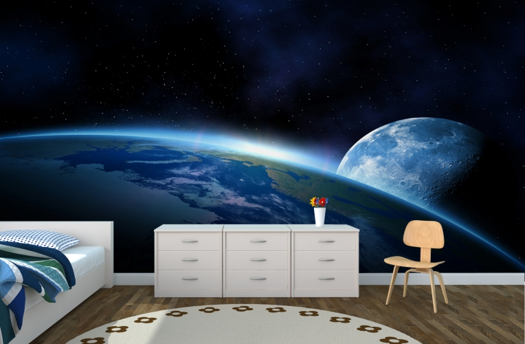 Earth And Moon Space Wallpaper Wall Mural | MuralsWallpaper.co.uk Part 79