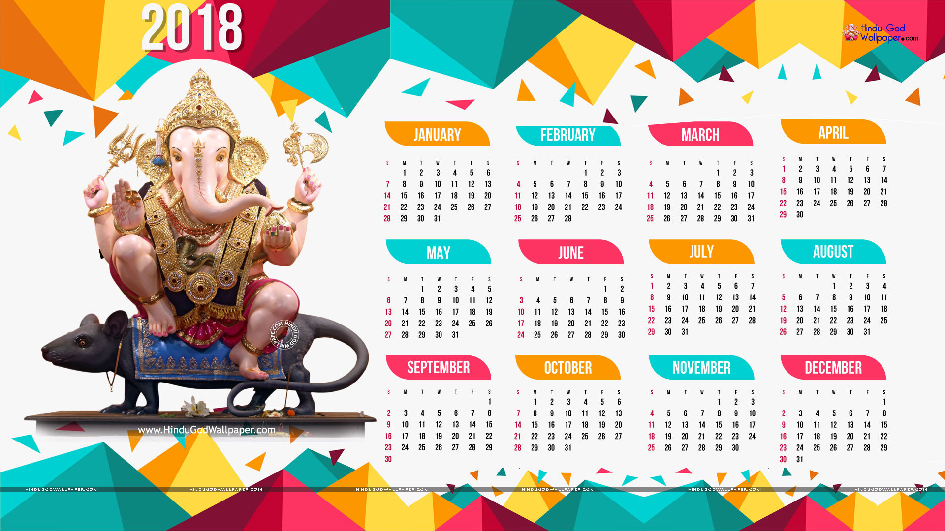 Wallpapers with Calendar 2018 1920x1080