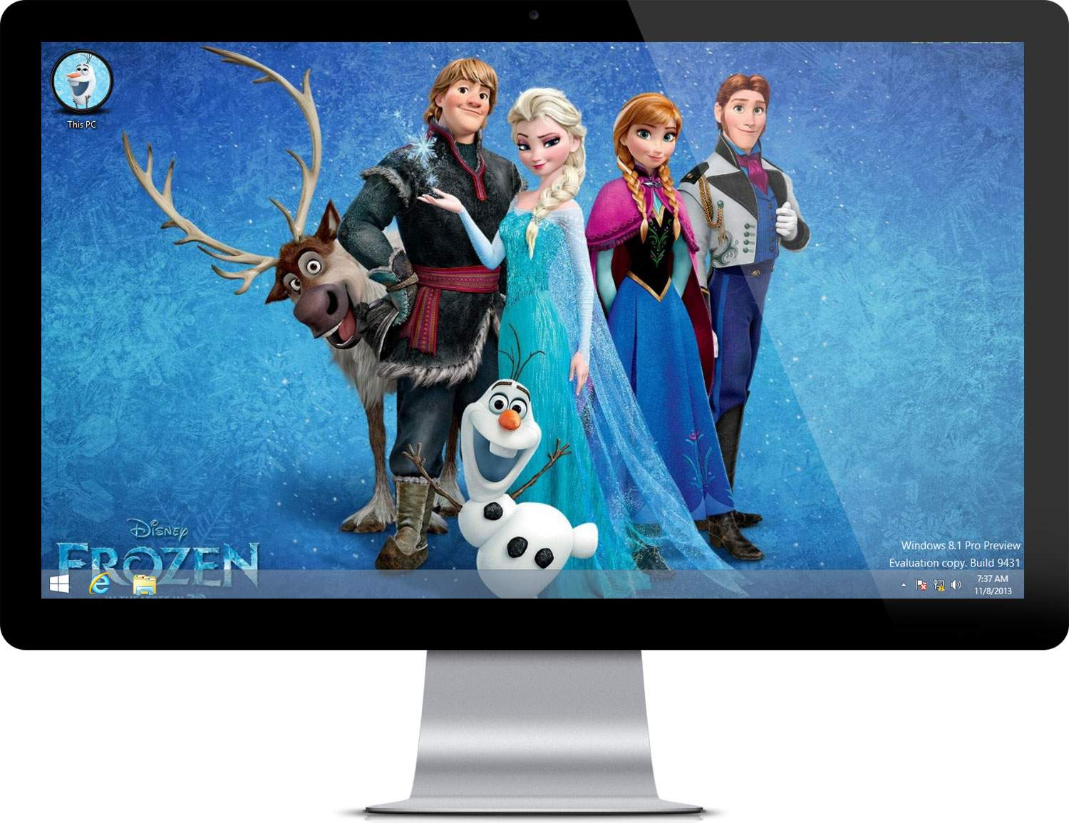 Frozen Movie Theme on WIndows 7 computer 1500x1155