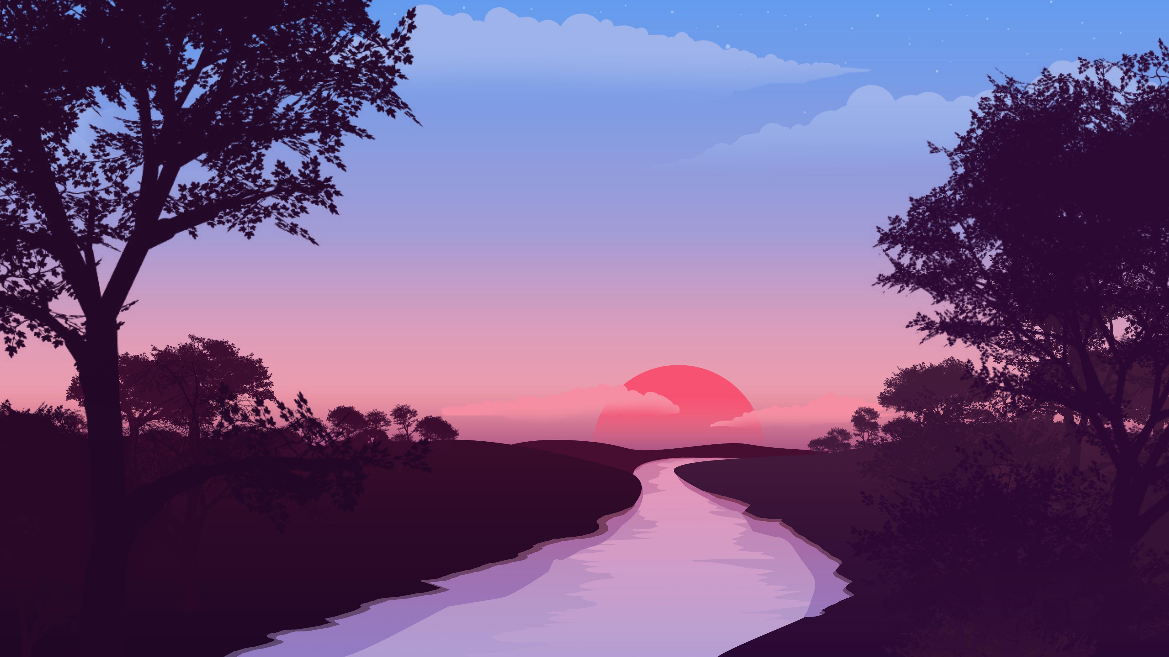 Minimalist River 4K wallpaper 3840x2160