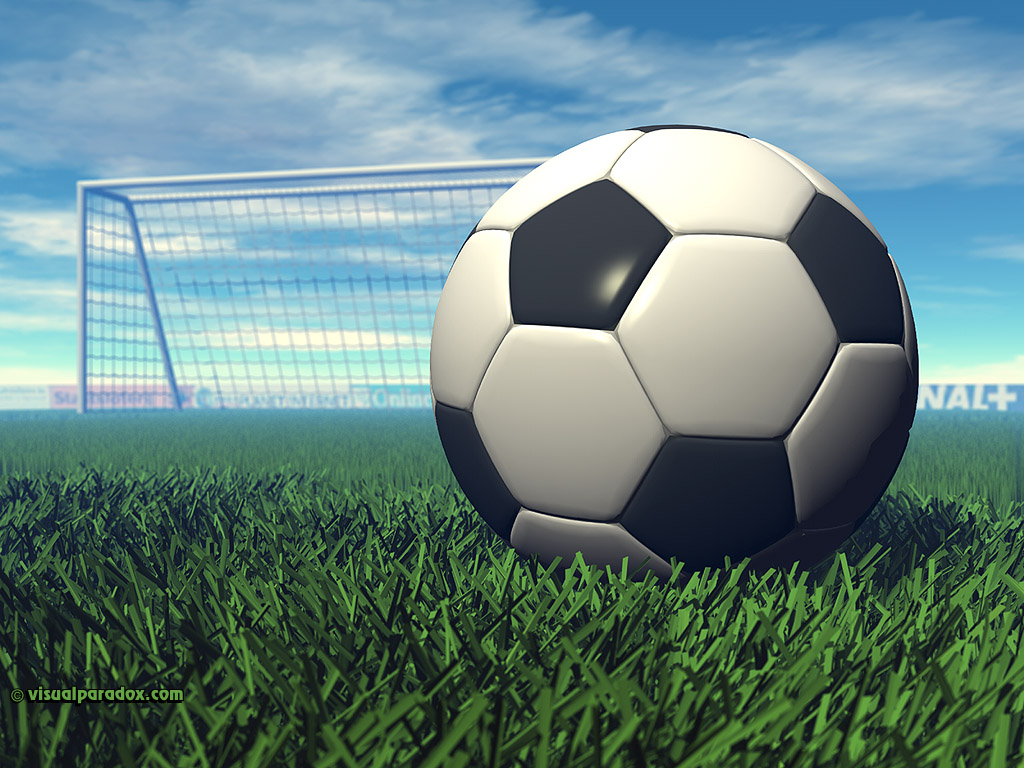 sport football goal grass game ball kick sports 3d wallpaper 1024x768