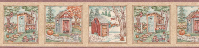 COUNTRY SEASONAL OUTHOUSES Wallpaper Border STN6051