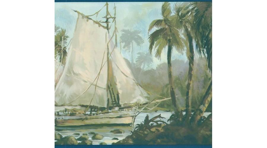 Home Navy Blue Sailboat Wallpaper Border 900x500