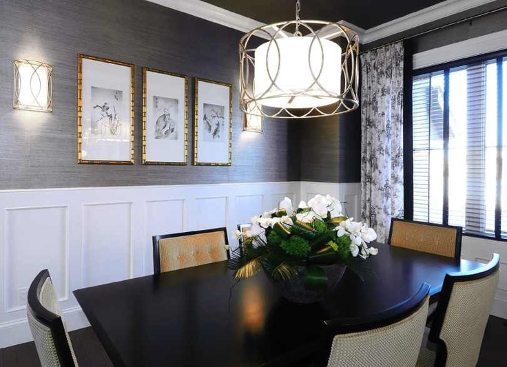Grasscloth wallpaper luxe dining room Inspiration for re decorating 736x533