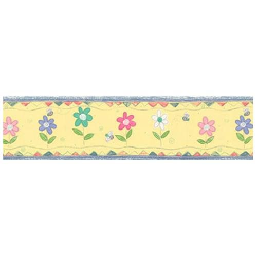 YELLOW BUMBLEBEE DAISY Prepasted WALL BORDER   Bumble Bees Daisies 500x500
