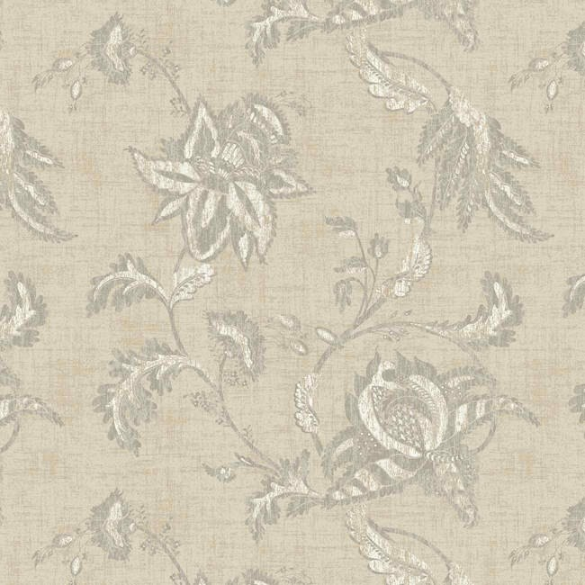 Interior Place   Beige Grey Jacobean Floral Scroll KC1837 Wallpaper 650x650