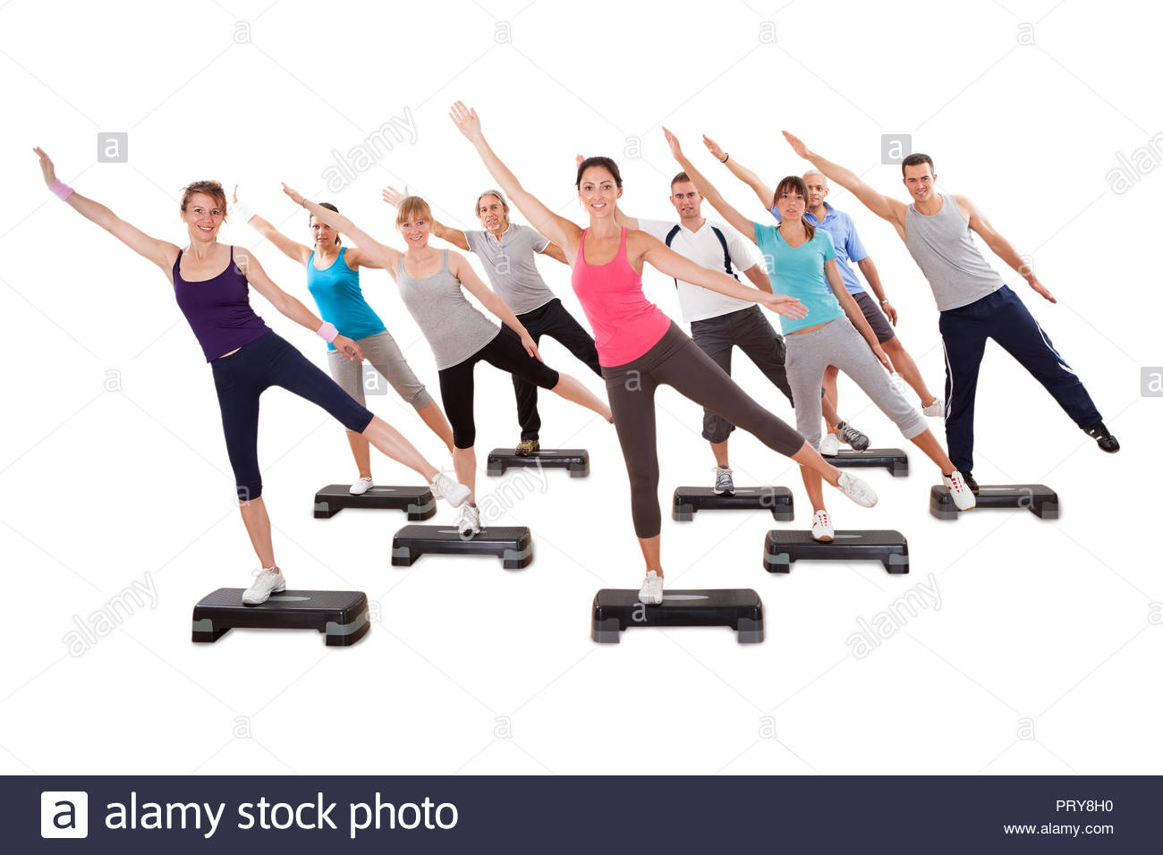 Group Of Fit People Doing Stretching Exercise On White Background 1300x956