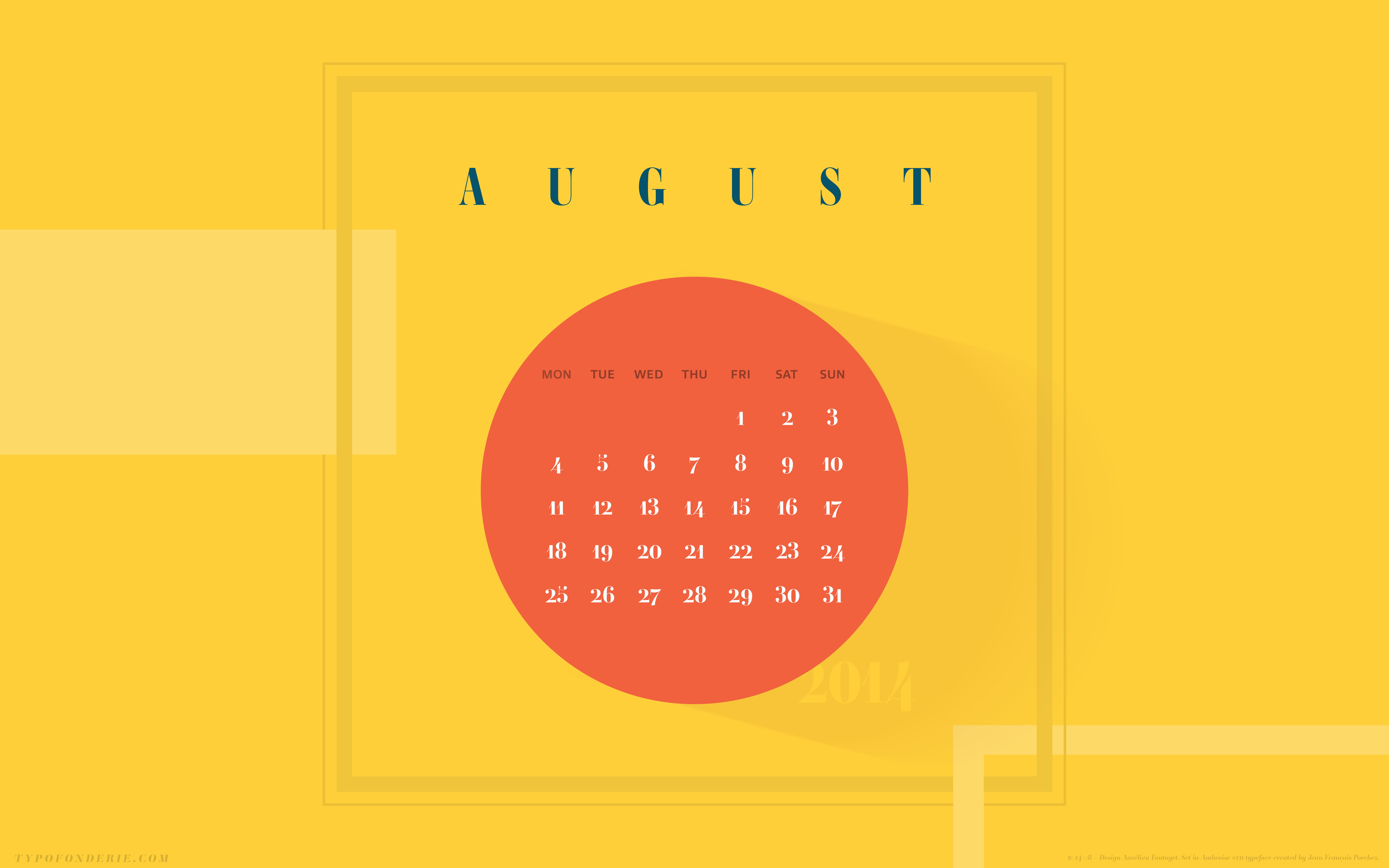 A wallpaper calendar August 2014 featuring Ambroise Typofonderie 8000x5000