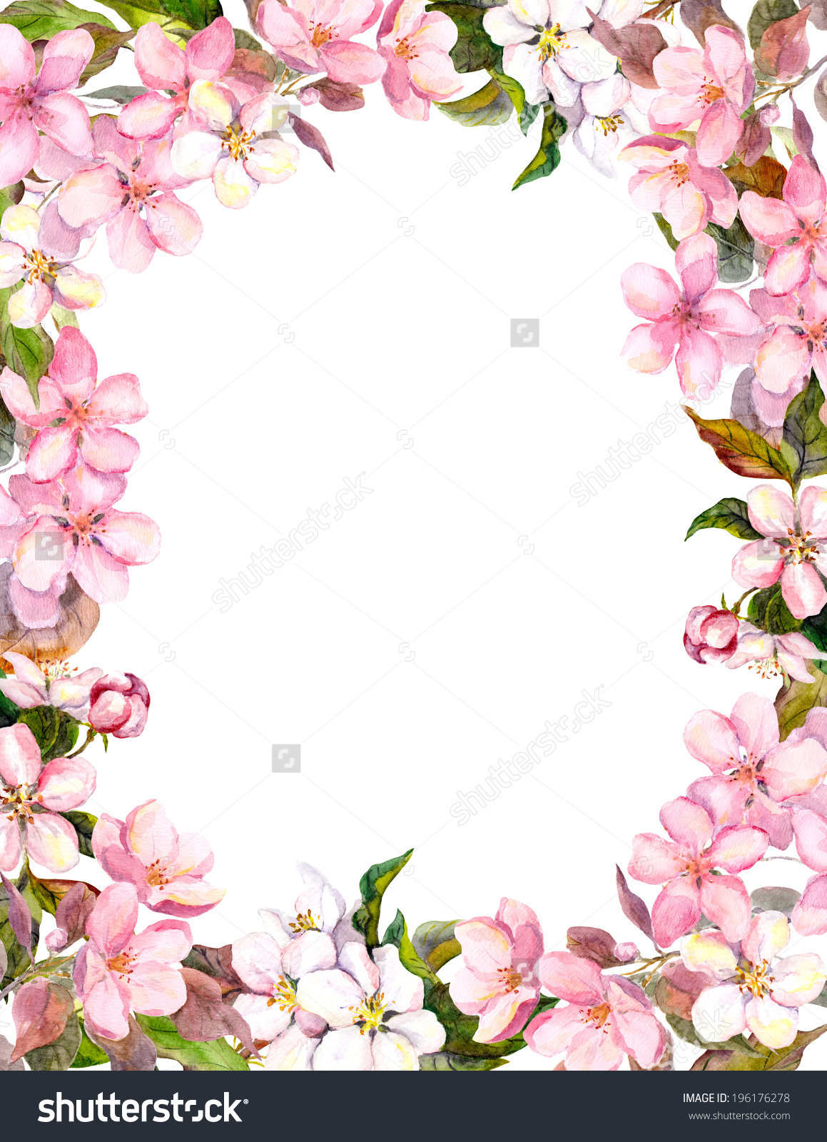Free Download Floral Border For Shabby Background Watercolor Stock
