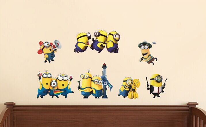 PVC despicable me wallpaper car stickers funny minions wall paintings 716x441