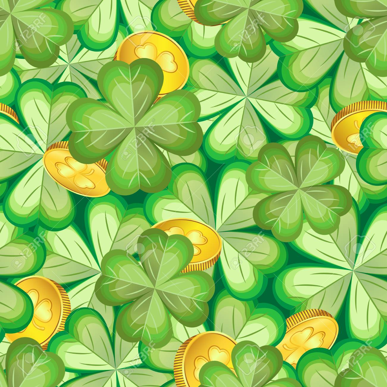 Pattern Of Naturalistic Shamrocks And Gold Coins Royalty 1300x1300