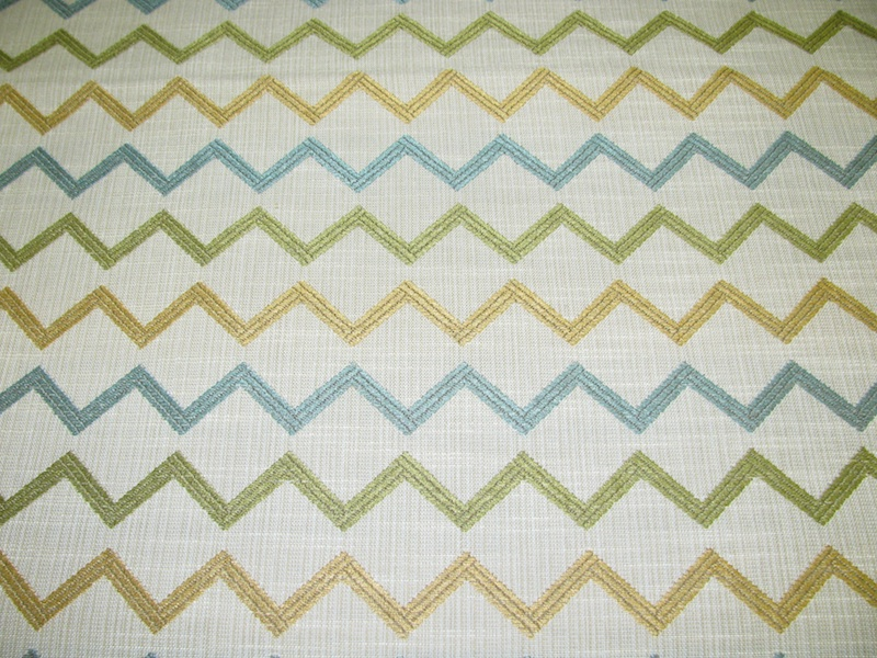 CREAM TURQUOISE GOLD ZIG ZAG DESIGN UPHOLSTERY FABRIC 25 YD [RC4 800x600