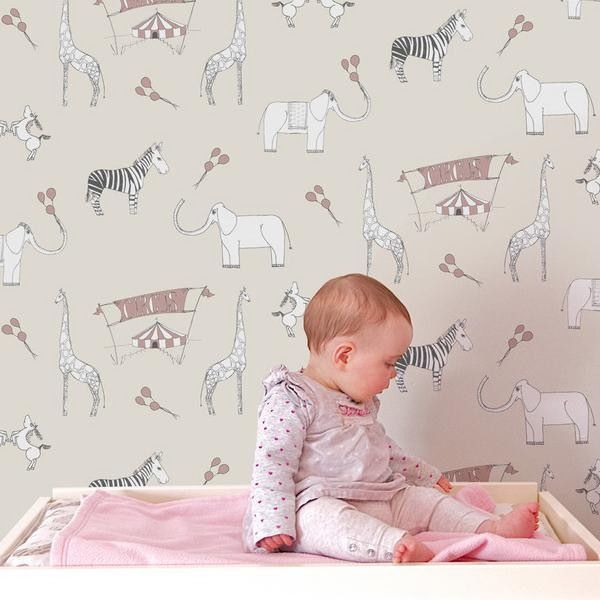 Animal wallpaper for nursery wallpapersafari for Baby room wallpaper