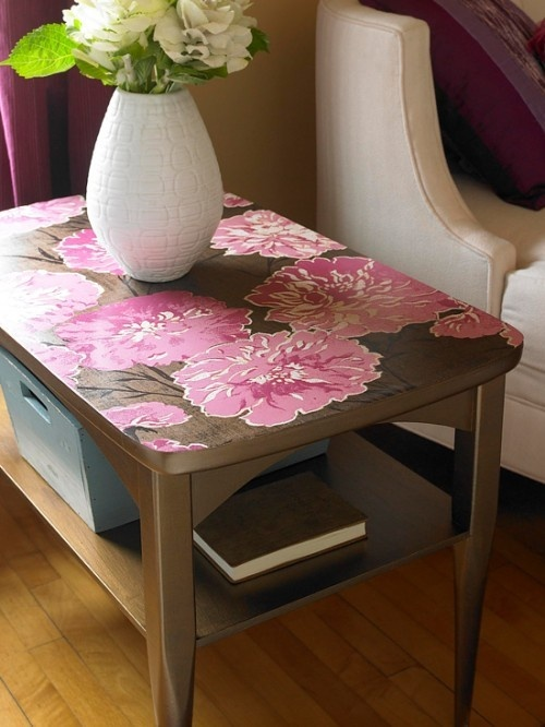 Wallpaper tabletop Decoupage Furniture Pinterest 500x666