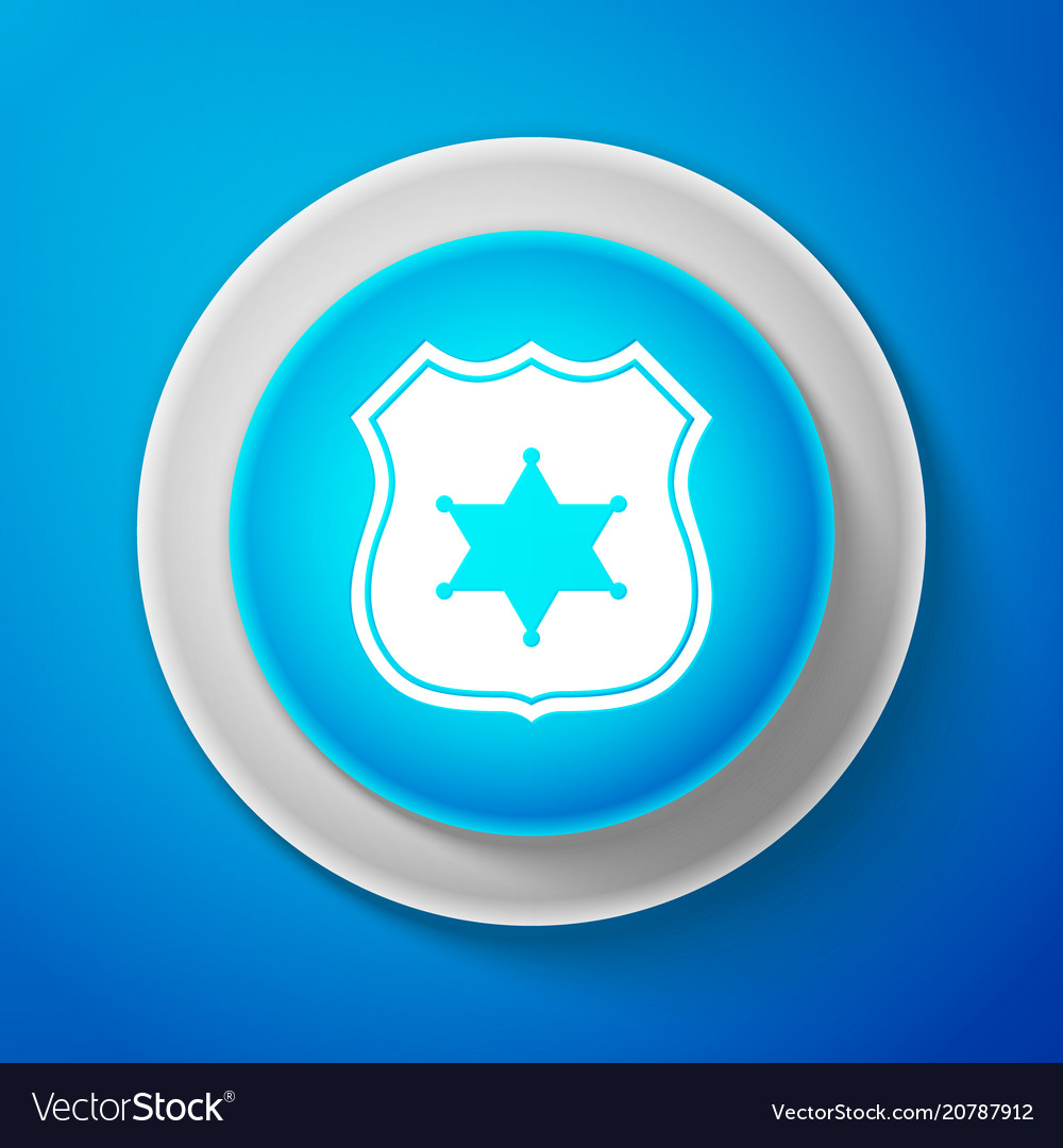 Police badge icon isolated on blue background Vector Image 1000x1080