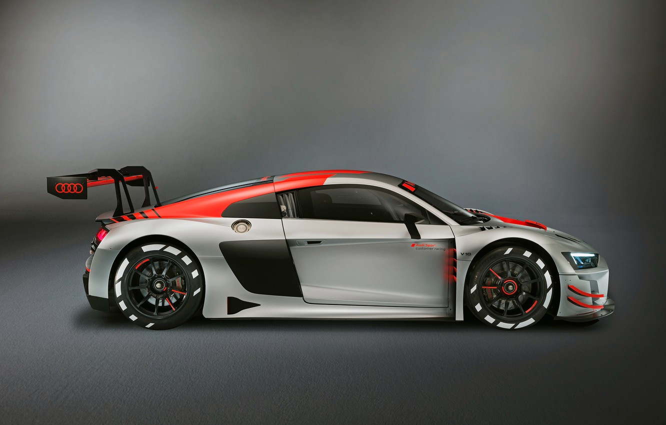 Wallpaper racing car Audi R8 side view LMS 2019 images for 1332x850