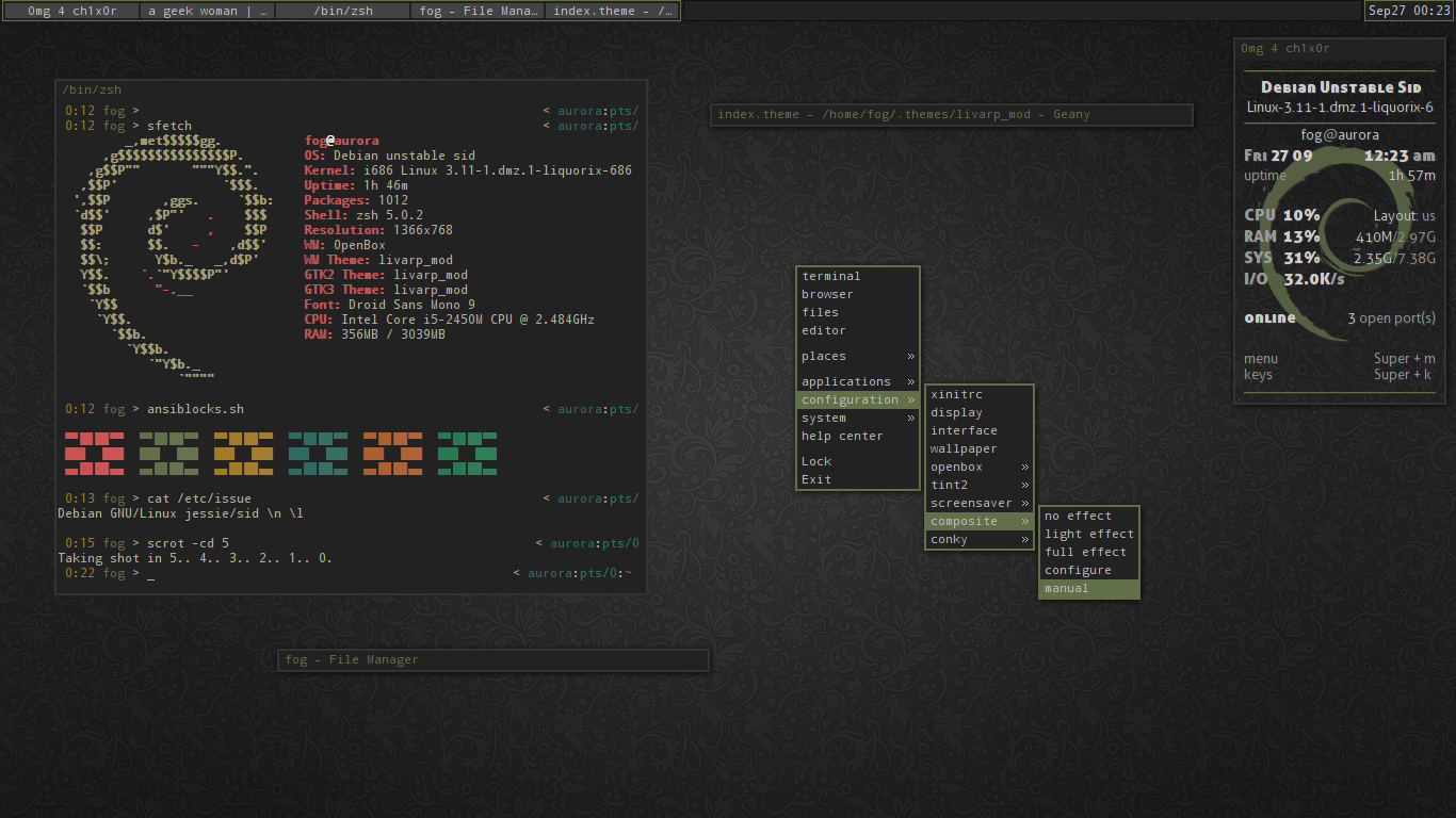 Free download Debian sidjessie by irenegr [1366x768] for