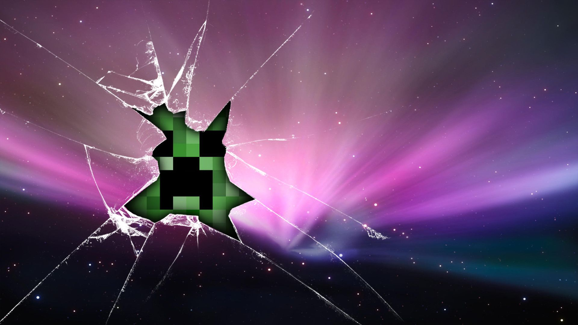 Cracked Screen Minecraft Wallpaper Creeper