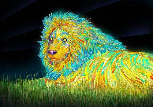 Colorful Lion Wallpaper 500x350
