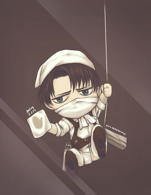 Chibi Levi cleans your screenLevis Cleaning Kyojin Animal Character 500x643
