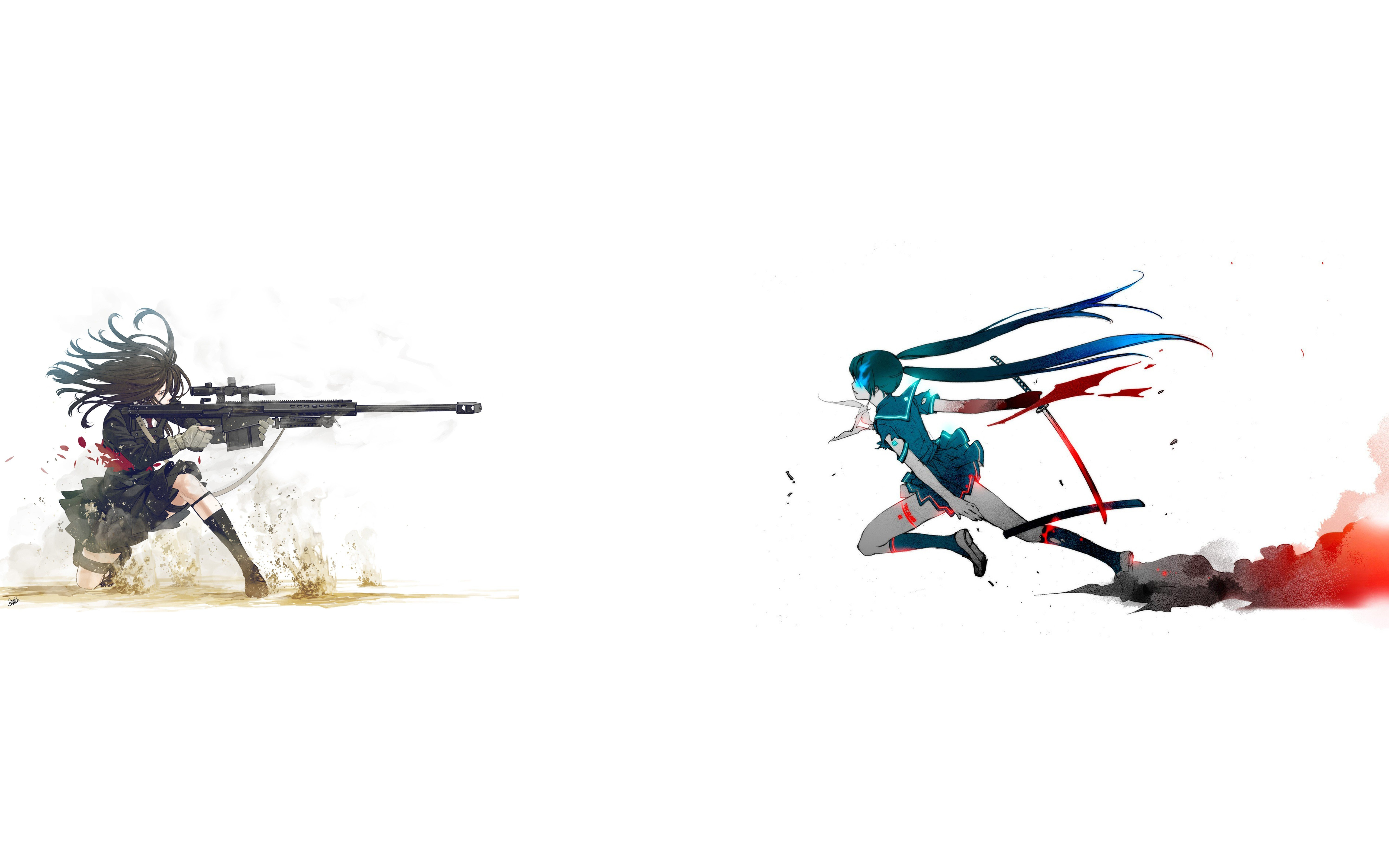 black Rock Shooter School Uniforms Samurai 50 Cal Simple 5988x3743