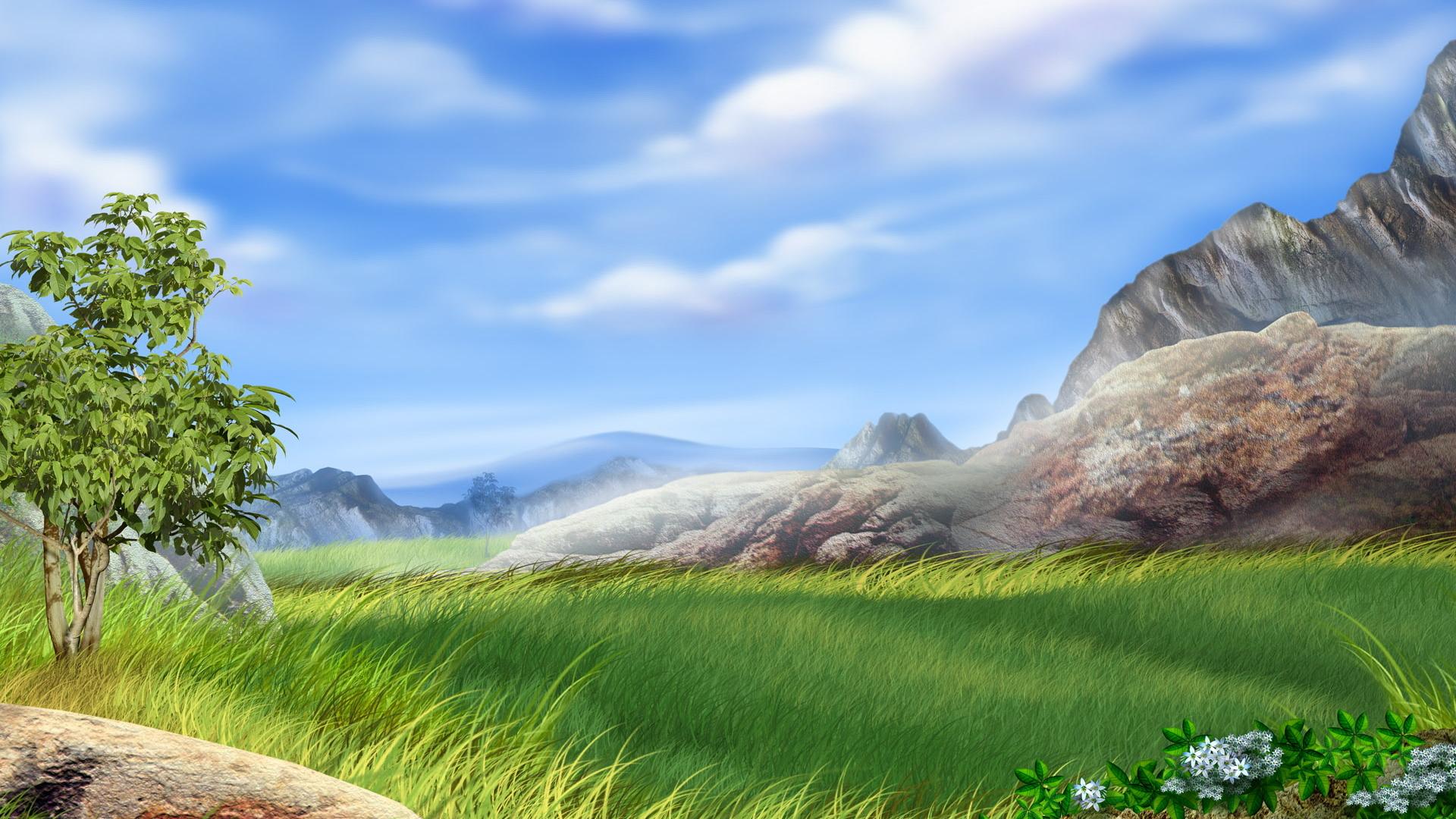Скалы горы облака трава деревья  № 2863477 загрузить