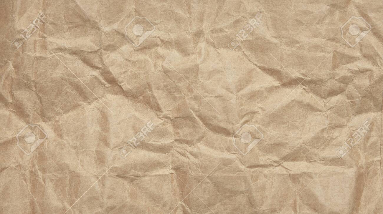 Abstract Crinkle Crumpled Kraft Paper Background Brown Paper 1300x727