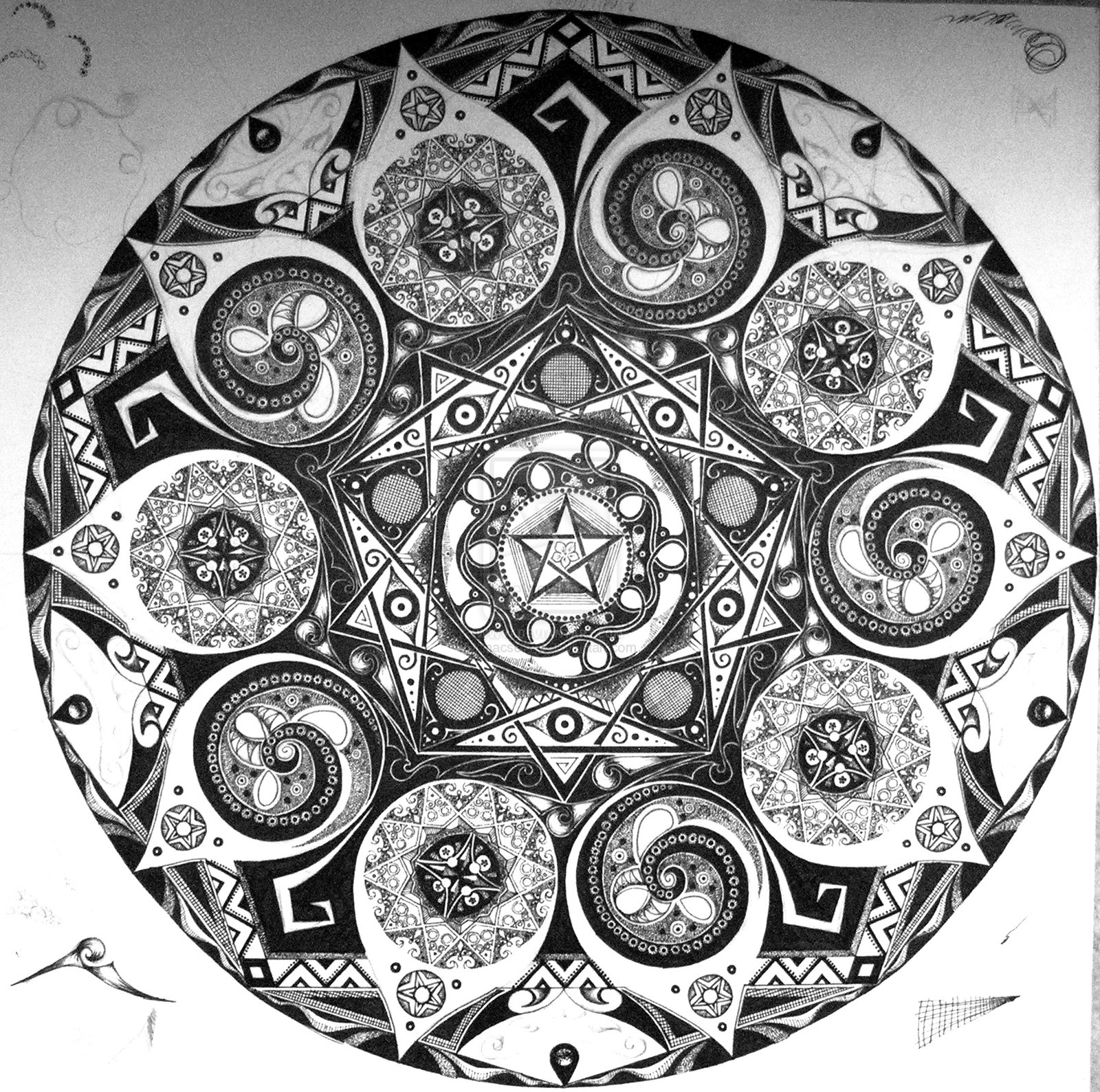 Mandala Wallpaper Black And White Xth mandala in prog by Mandala 1600x1589