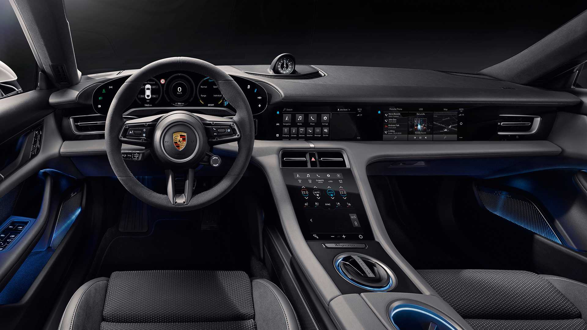 Porsche Taycan Interior Revealed Even Gives Passenger A Screen 1920x1080