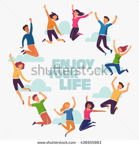 Group Young People Jumping On White Stock Vector 420008227 447x470